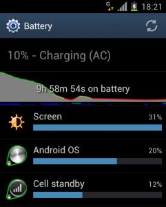 Battery usage screenshot